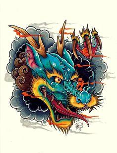 24 Ideas For Tattoo Dragon Japones Deviantart Japanese Dragon Tattoos, Japanese Tattoo Art, Japanese Tattoo Designs, Japanese Sleeve Tattoos, Japanese Art, Dragon Head Tattoo, Dragon Tattoo Designs, Koi Dragon, Catrina Tattoo