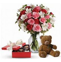 This beautiful gift set includes delicious chocolates, a delightful bear paired with a vase arrangement of light red, pink and white blooms. Get Well Flowers, Love Flowers, Beautiful Flowers, Send Flowers, Gift Flowers, Flower Delivery Australia, Birthday Delivery, Happy Birthday Flower, Anniversary Flowers