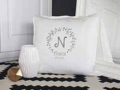 Cushion cover with kid name and birthdate. by MyHomeAndYours