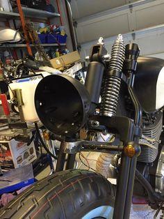 Suzuki Savage 666cc. Creating bracket to headlights.