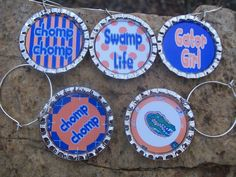 Florida Gator wine glass charms