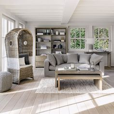 salon - bois - beige - gris - bord de mer - naturel - Maisons du monde / living - coastal - natural