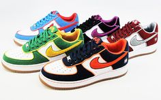 """Nike Air Force 1 """"Borough Pack"""" feature different colors, laces and logos for each NYC borough. Limited editions."""