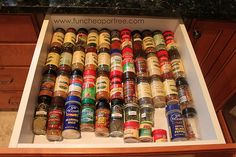 Need a good idea for spice organization? I have found a great way to organize my spices. My new spice drawer organization has helped keep my spices organized and accessible so I don't waste money and can use up what I have. Spice Drawer, Spice Storage, Spice Organization, Organization Station, Cabinet Storage, Organizing Ideas, Making Life Easier, Homemaking, Housekeeping