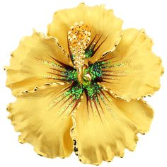 Fantasyard Topaz Brown Flower Swarovski Crystal Pin Brooch