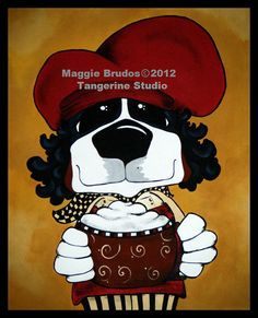 fat chef whimsical dog  art Coffee cocoa by tangerinestudio, $45.00