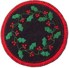 """PATTERN for a penny rug style wool felt """"""""HOLLY BERRY"""" candle mat #millersburgcountrystitchery"""
