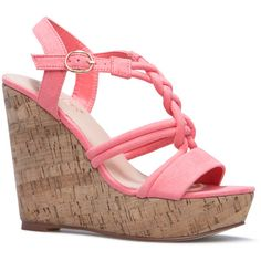 ShoeDazzle Wedge Lolita Womens Pink/Orange ❤ liked on Polyvore featuring shoes, sandals, wedges, pink shoes, woven wedge sandals, pink wedge shoes, orange sandals and pink sandals