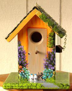 Handpainted Birdhouse Outdoor Indoor Faux Van Gogh Starry Night ...
