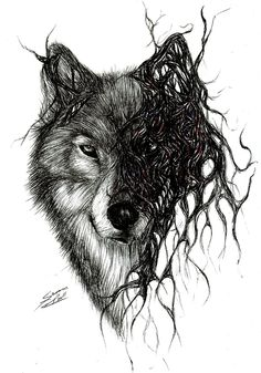 Wolf by Mixielion on DeviantArt - Drawn with black, blue and red biro. Informations About Wolf by Mixielion on DeviantArt Pin You can - Wolf Tattoo Design, Tattoo Designs, Sketch Tattoo Design, Tattoo Sketches, Tattoo Drawings, Design Tattoos, Tattoo Ink, Arm Tattoo, Wolf Tattoos