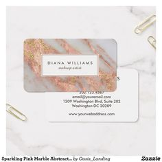 Sparkling Pink Marble Abstract Makeup Artist Business Card - Our most popular business card in an  elegantly feminine abstract marble pattern in pink and grayish-white with gold glitter sparkle highlights and chic text layout. Shown here as a makeup artist card but also works beautifully for many professions: stylish, manicurist, interior design, personal shopper, assistant, office manager, sales, accountant, legal, fashion industry, and more. Sold at Oasis_Landing on Zazzle.