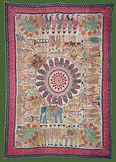 Sujni Kantha - C. 19th Century A.D. - Khulna, Undivided Bengal - made by Manada Sundari