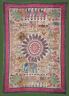 Sujni Kantha - C. 19th Century A.D. - Khulna, Undivided Bengal - made by Manada Sundari
