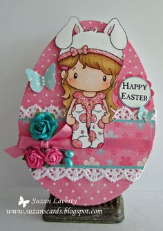 CC Designs Easter Egg shaped card - bjl Baby Puppet, Paper Punch Art, Copic Drawings, Baby Cross Stitch Patterns, Handmade Card Making, Beautiful Handmade Cards, Planner, Copics, Clear Stamps