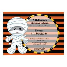 Cute Halloween birthday personalized invites.  $2.05