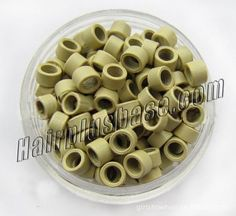 1000pcs Beige Aluminium Spiral Links for Hair Extensions