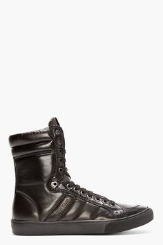 Moncler Black Leather High top London Sneakers