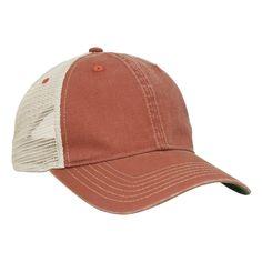 Pacific Headwear Red/Tan Vintage Trucker Mesh Cap