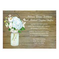 Rustic Country Weddings Mason Jar Blue Hydrangeas Personalized Invite