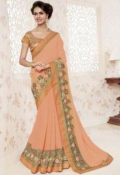 Apricot Orange Shine Georgette Indian Saree