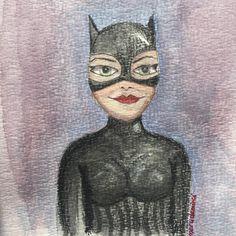 İsimsiz — #catwoman #illustration #watercolor #polychromos...