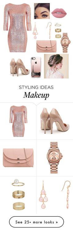 """""""Rose Gold Beauty """" by pandabearsammy on Polyvore featuring Topshop, Rupert Sanderson, Casetify, Latelita, Thomas Sabo, Miss Selfridge and Lime Crime"""