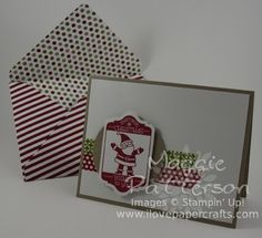 I Love Papercrafts : How to Use the Envelope Punch Board with coordinating card featuring Tag It.  #stampinup #envelopepunchboard #tagitstampinup #papercrafts (Details + Video at:http://www.ilovepapercrafts.com/my_weblog/2013/09/how-to-use-the-envelope-punch-board-video.html)
