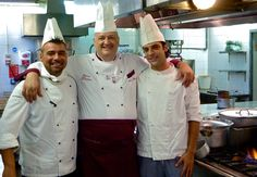 The chefs at the renowned Diana, authentic Bolognese cuisine in Bologna, Italy.