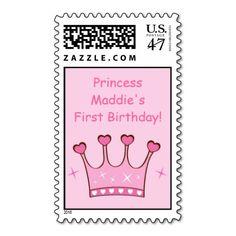 Princess Crown Birthday Custom Postage Stamps