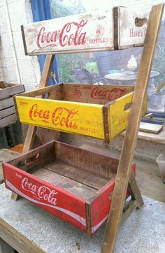 Leaning vintage soda crate shelves