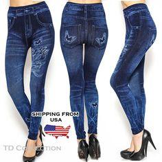 Women Denim Jeans Sexy Skinny Leggings Jegging Tite Stretch Pants Trousers New #TD #Leggings