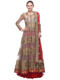 """Bloom da Loom offers a great range of apparels and this designer wear is amongst the finest! """"Burlywood anarkali in high-quality Net for Formal wear"""" is one of the most peppy anarkalis for Formal wear - A beautiful new flaired anarkali with zari and seque..."""