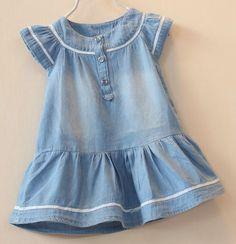 denim Frocks For Girls, Kids Frocks, Toddler Girl Outfits, Little Girl Dresses, Toddler Fashion, Kids Outfits, Kids Fashion, Moda Kids, Baby Girl Patterns