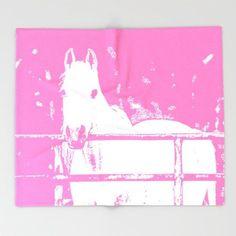 White Horse, Throw Blanket, Pink