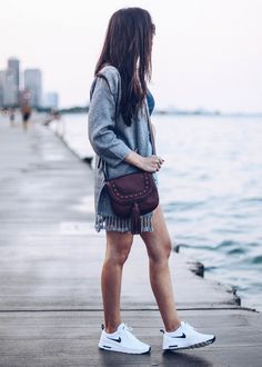 @fossil @chicwish cute sneakers, white nike airmax, travel outfit, chicago outfit, denim highwaisted shorts, grey chicwish cardigan, v-neck tee, pretty in the pines fashion blog, fossil crossbody bag, what to wear for a day trip
