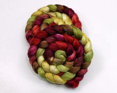 Silk/ Merino Wool Roving  Handpainted Spinning by woolgatherings, $32.50 - This color palette is beautiful!!