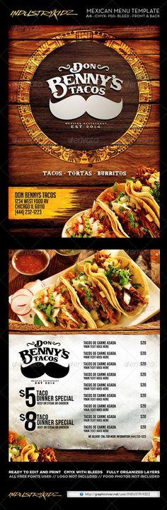 Mexican Menu Template: Food Menu Template, Restaurant Menu Template, Restaurant Menu Design, Menu Templates, Restaurant Ideas, Taco Dinner, Dinner Menu, Food Truck Design, Food Design