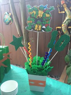 Ninja Turtles Birthday Party Centerpiece by FantastikCreations