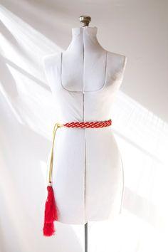 Vintage Morrocan Tassle  Belt   Red and Gold by PomegranateVintage, $24.99