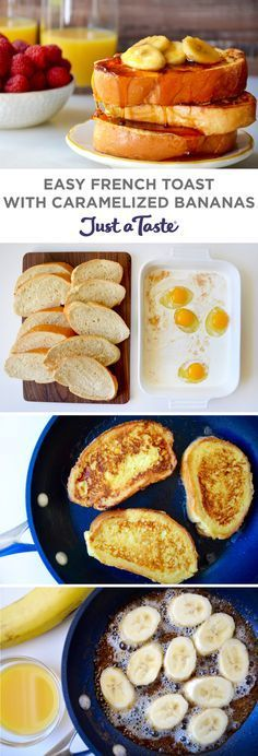 Easy French Toast with Caramelized Bananas recipe justataste.com #recipe #breakfast