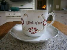 THINK OF ME mustache china shaving mug cup w/ saucer made in Germany gold trim