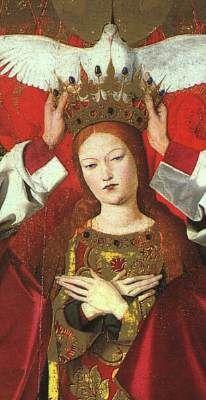 Enguerand Quarton, Le couronnement de la Vierge (détail) (1453-54, Musée de l'Hospice, Villeneuve lès Avignon)