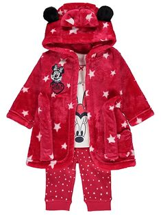 Disney Minnie Mouse Pyjamas and Dressing Gown Set | Baby | George