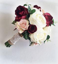 Marsala burgundy ivory silk bridal bouquet roses peony