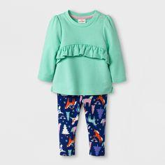 Baby Girls' 2pc Shirt and Unicorn Fleece Leggings - Cat & Jack™ Green