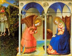 Annunciation, Fra Angelico, 1438.  Mary, a young unmarried girl in the remote village of Nazareth, had a profound experience, a message from God that the gospels describe as the visit of an angel. She was asked to be the mother of a son who would one day be the Messiah. She accepted this awesome task.