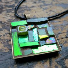 Lime Green Mosaic Pendant by nutmegdesigns on Etsy