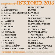 inktober-prompts | Tumblr | Arty things | Pinterest | Inktober ...