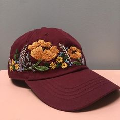 Bone Floral, Custom Embroidered Hats, Hat Embroidery, Custom Hats, Handmade Design, Design Your Own, Hand Stitching, Just In Case, Compliments