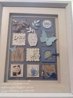 Blue Collage I do have a thing for squares and geometry. This little collection uses many Stampin' Up! Box Frame Art, Shadow Box Frames, Box Art, Scrapbooking, Scrapbook Cards, Paper Wall Art, Creative Box, Candy Cards, Collage Frames